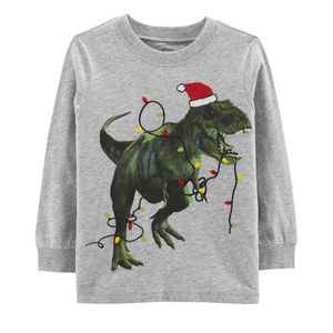 Carters 2T Christmas T-Rex Jersey Tee Toddler Boy